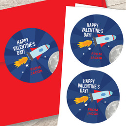 Love To The Moon Valentine Labels