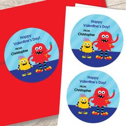 Monster Love Valentines Labels