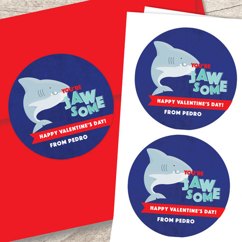 Shark Love Valentine Labels