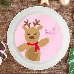 Sweet Reindeer On Pink Kids Bowl