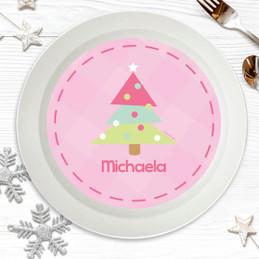 Modern Xmas Tree Pink Kids Bowl