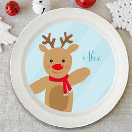 Sweet Reindeer On Blue Kids Bowl