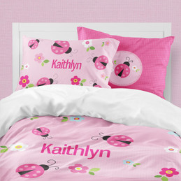 Sweet Pink Lady Bug Duvet Cover