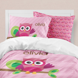 Pink Owl Be Yours Duvet Cover