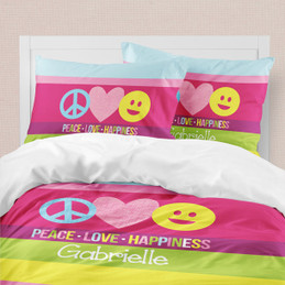 Peace & Love Signs Duvet Cover