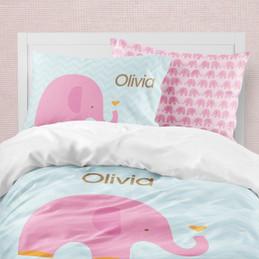 Sweet Pink Elephant Duvet Cover