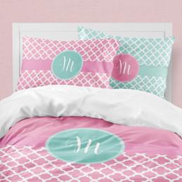 Pretty Pink Quatrefoil & Ribbon Duvet Cover