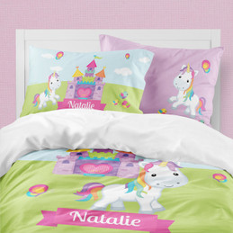 Pretty Heart Castle & Unicorn Duvet Cover