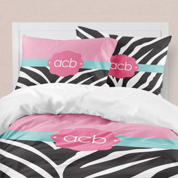 Zebra and Pink Duvet Cover