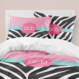 Zebra and Pink Duvet Cover