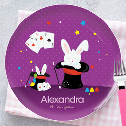 Cute Girl Magician Kids Plates