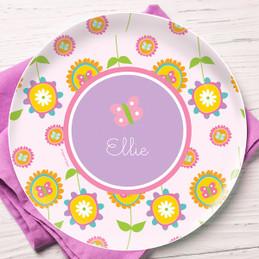 Pink Flowers Pattern Kids Plates