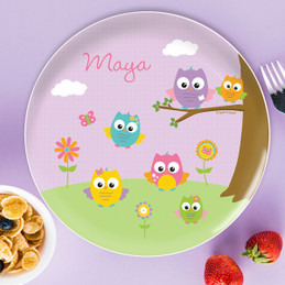 Owls On The Field Kids Plates