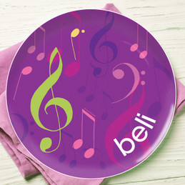 Girly Music Notes Kids Plates