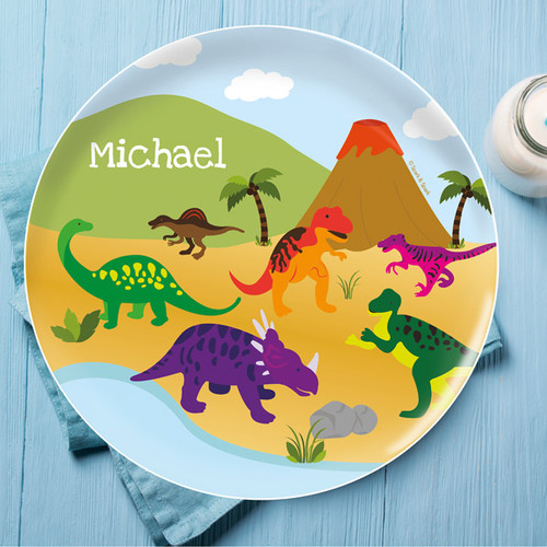 Dinosaur in the Jungle Kids Plate  sc 1 st  Spark u0026 Spark & Dinosaur in the Jungle Personalized Kids Plates By Spark u0026 Spark