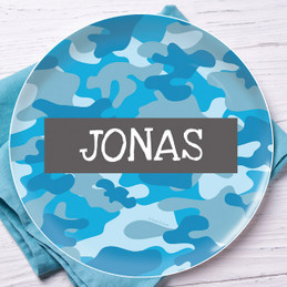 Blue Camouflage Kids Plate