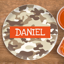 Brown Camouflage Kids Plate