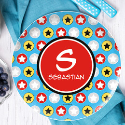 Super Hero Stars Kids Plate