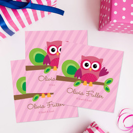 Pink Owl Be Yours Gift Label Set