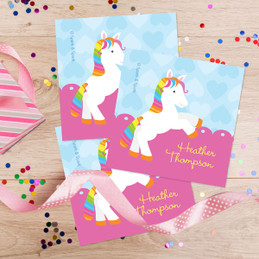 Cute Rainbow Pony Gift Label Set