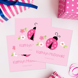 Sweet Pink Lady Bug Gift Label Set