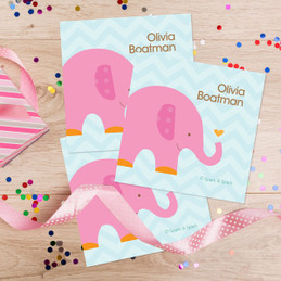 Sweet Pink Elephant Gift Label Set