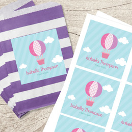Pink Hot Air Balloon Gift Label Set