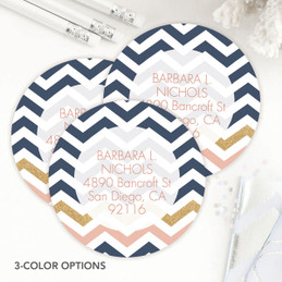 Blue Chevron Label Set