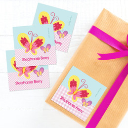 Smiley Butterfly Gift Label Set