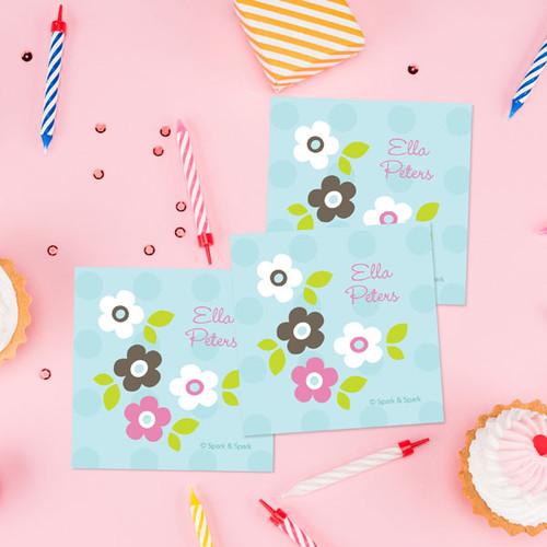 Bkue Preppy Flowers Gift Label Set