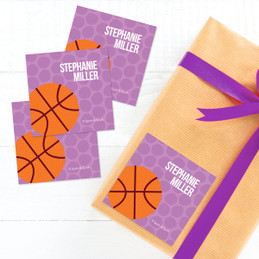 Purple Basketball Fan Gift Label Set