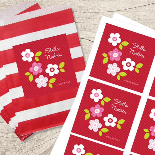 Red Preppy Flowers Gift Label Set