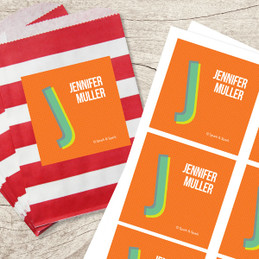 Orange Double Initial Gift Label Set