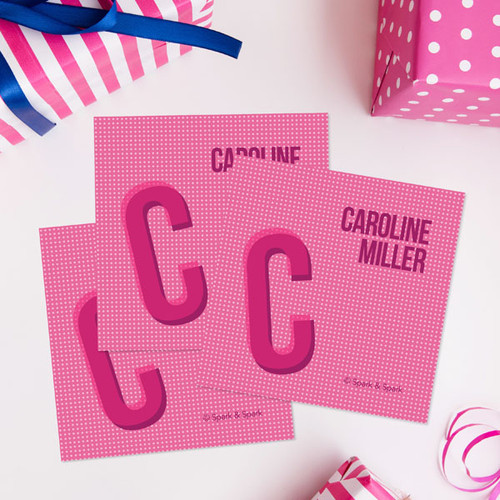 Pink Double Initial Gift Label Set