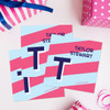 Blue Double Initial And Stripes Gift Label Set