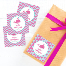 Sweet Pink Whale Gift Label Set