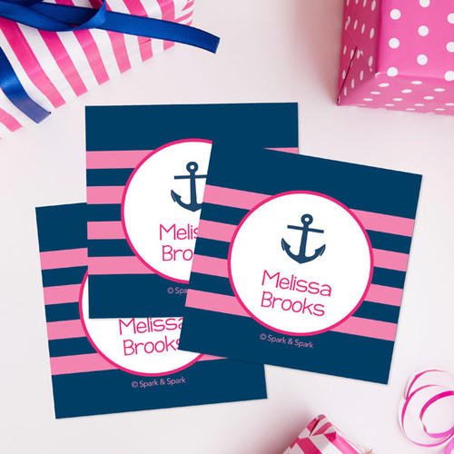 Pink Let'S Sail Gift Label Set