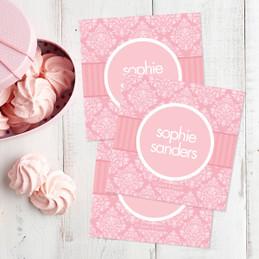 Pink Sweet Damask Gift Label Set