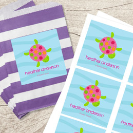 Swimming Pink Turtle Gift Label Set