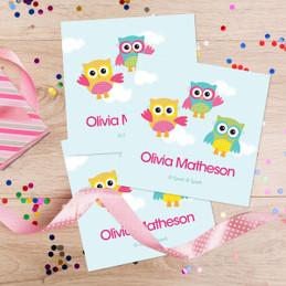 Three Owls Gift Label Set