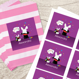 Cute Girl Magician Gift Label Set