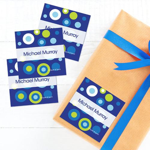 Circles And Circles - Blue Gift Label Set