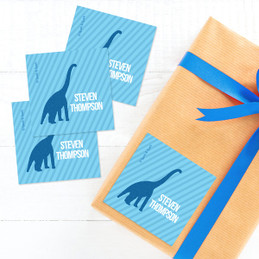 Dino And Me - Blue Gift Label Set