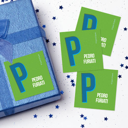 Double Initial - Green Gift Label Set