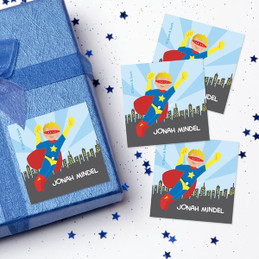 Cool Superhero Gift Label Set