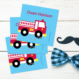 Cool Firetruck Gift Label Set