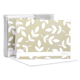 Leafy bunch White w/stripe Notecards