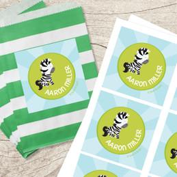 Cute Baby Zebra Gift Label Set