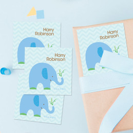 Blue Baby Elephant Gift Label Set