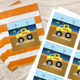 Monster Truck Gift Label Set